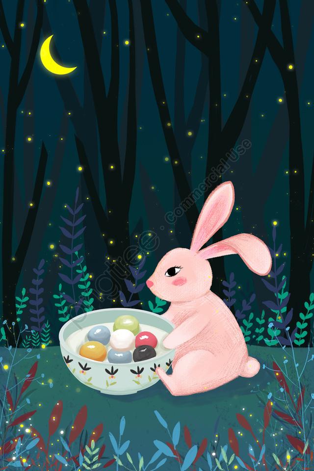 Lantern Festival Rabbit Yuan Zhen Forest, Night, Moon, Firefly llustration image