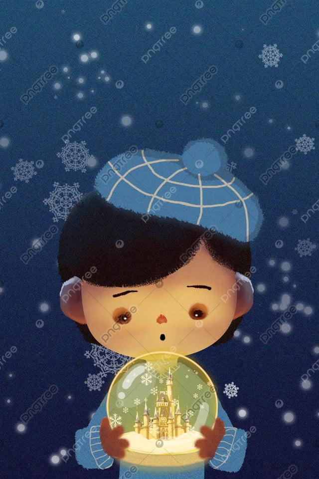 light snow crystal ball girl castle, Light, Snow, Hand llustration image