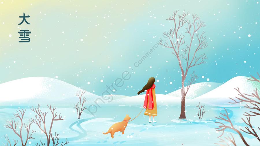 Light Snow Heavy Snow Beginning Of Winter Snow, Teenage Girl, Walking The Dog, Holding A Dog llustration image