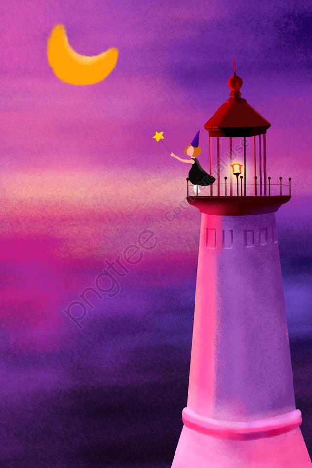 灯台夜空紫夕焼けグロー, ガール, マジックワンド, スターステーション llustration image