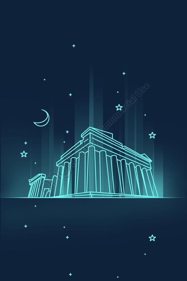 ライン漫画のランドマークの建物, ギリシャ, パルテノン神殿, 夜景 llustration image