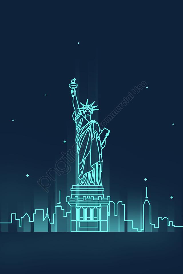 line united states new york landmark building, Statue Of Liberty, Places Of Interest, Landmark llustration image