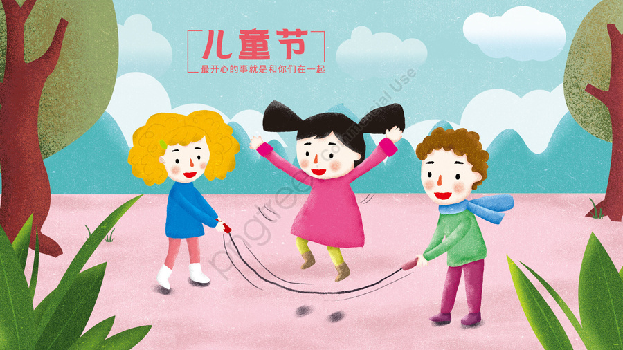 little girl little boy rope skipping plant, Tree, Cloud, Mountain llustration image
