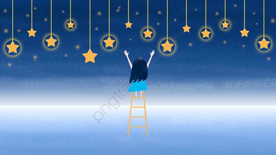 少女狩り星はしご星空少女, 十代の少女, ピッキングスター, スター llustration image