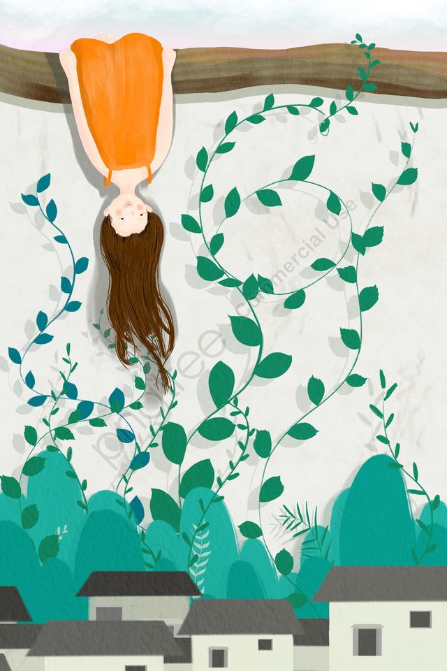 小さな女の子つる植物の葉, フェンス, 逆さまに, チャイルド llustration image