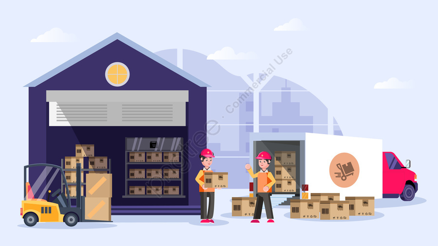 logistics express delivery freight illustration, Courier, City, Truck llustration image