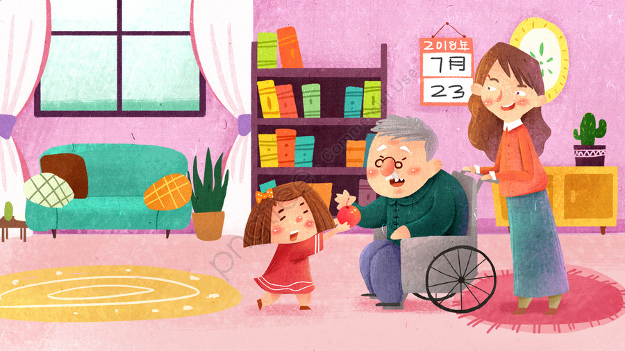 Love Charity Caring For The Elderly Nursing Home Hand Drawn Illustration, Little Girl, Cartoon, Literary llustration image