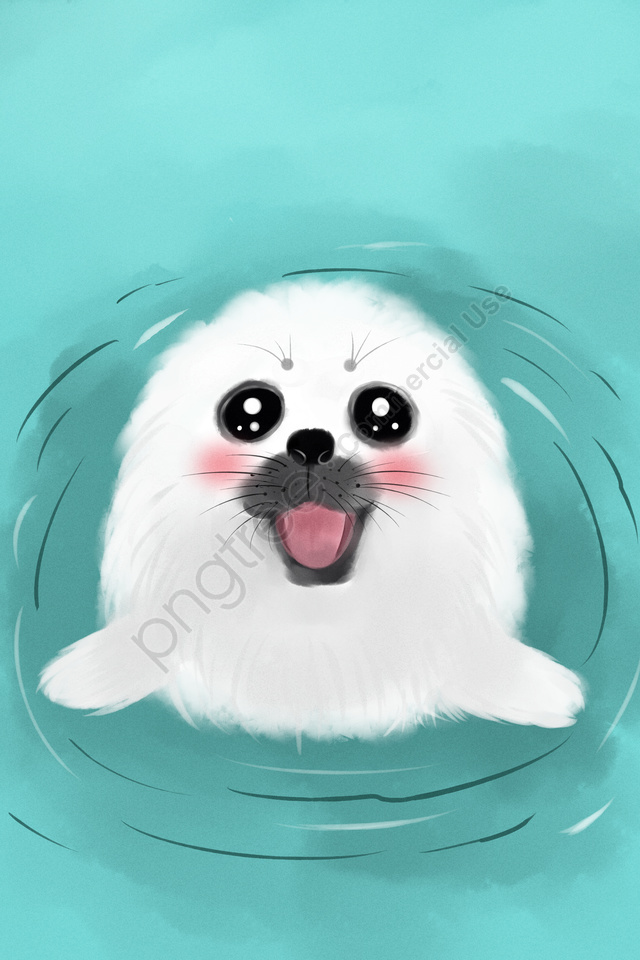 Lovely Animal Cute Pet Watercolor, Seal, Hand, Drawn llustration image