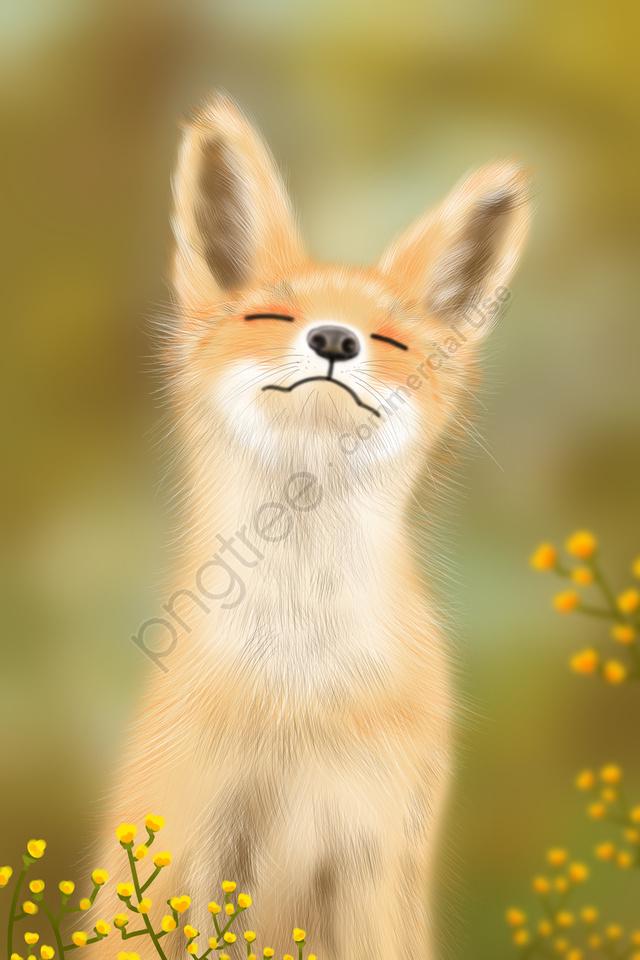 प्यारा प्यारा पालतू छोटा लोमड़ी का हाथ चित्रित, चित्रण, फॉक्स, मेंग llustration image