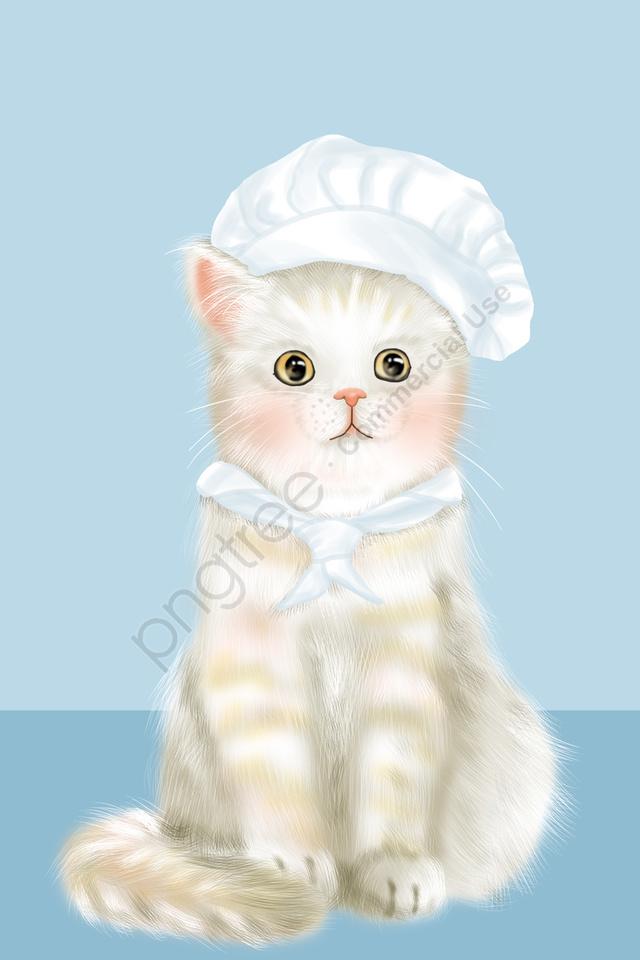प्यारी प्यारी पालतू बिल्ली, महाराज, हाथ चित्रित, चित्रण llustration image