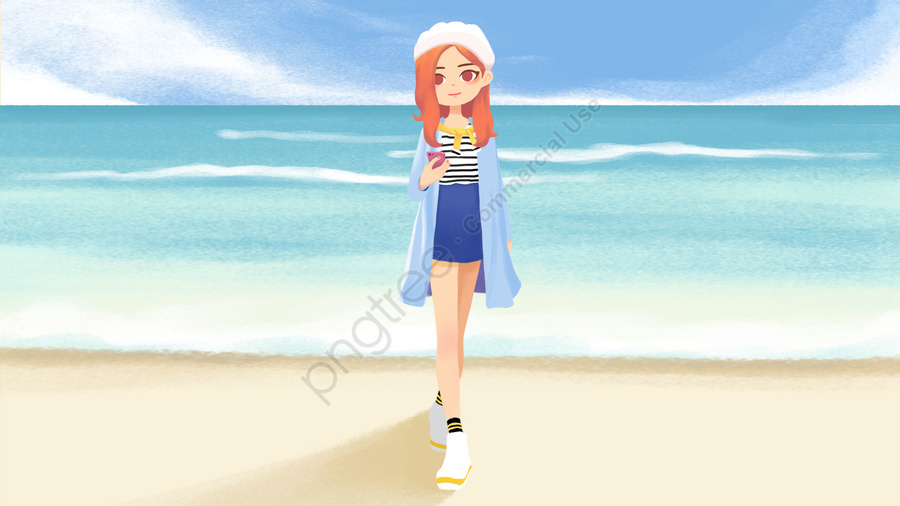 makeups outfit teenage girl seaside, White Hat, Striped Top, Denim Skirt llustration image