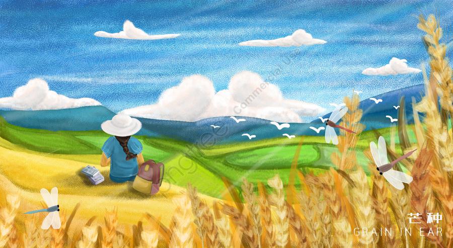 マンゴー種24ソーラー用語女の子青い空, 白い雲, 野生ガチョウ, 小麦 llustration image