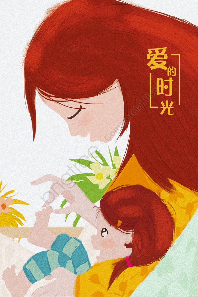 March 8 Womens Day Mothers Day Mother And Daughter Mother, Maternal Love, Little Girl, Warm llustration image