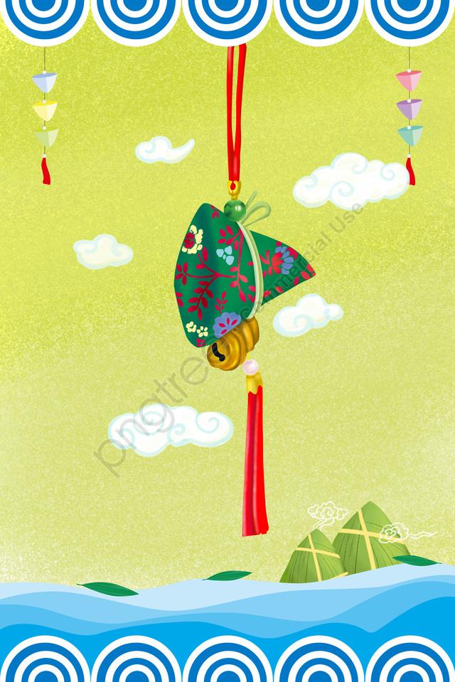 Pode Festival Do Barco Do Dragão Barco De Dragão Sachê Bolsa Festival, Zongzi, Xiangyun, Onda llustration image