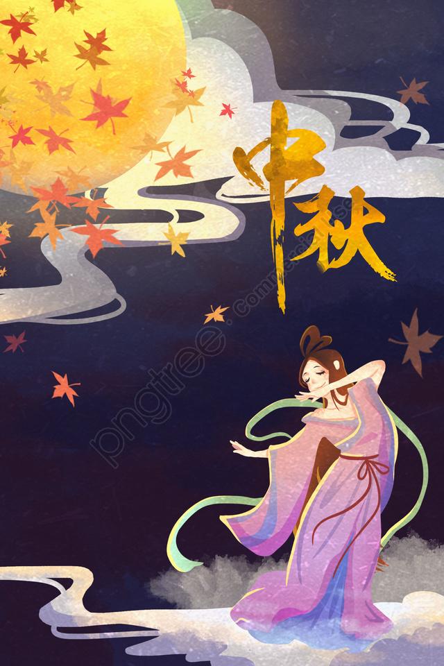 Mid Autumn Festival Mid Outono 嫦娥 Lua, Maple Leaf, Lindo Romance, Mão Desenhada Ilustração llustration image