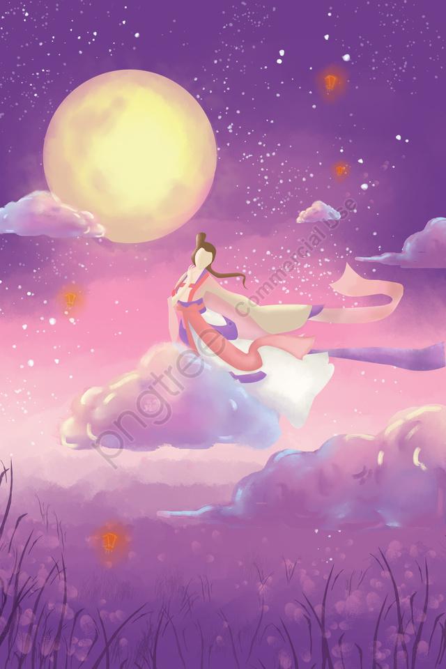 मध्य शरद ऋतु त्योहार मध्य शरद ऋतु Moon गोल चाँद, Kongming लालटेन, रंगीन बादल, बैंगनी llustration image