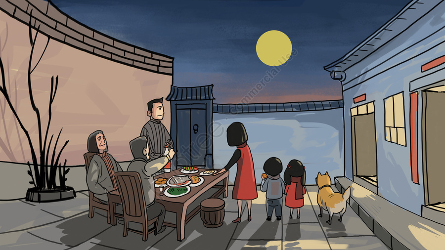 Pertengahan Musim Luruh Festival Pertengahan Musim Keluarga Reuni, Moon, Kek Bulan, Festival Pertengahan Musim Gugur llustration image