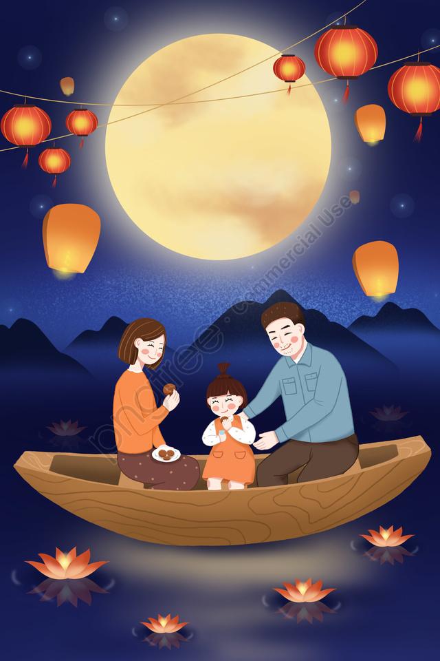 Pertengahan Musim Luruh Festival Pertengahan Luruh Kongming Tanglung Lampu Sungai, Lantern, Pusingan Bulan, Moon llustration image