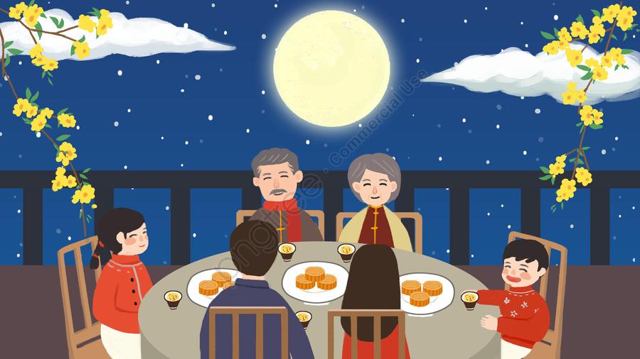 Праздник середины осени Праздник воссоединения луны середины осени, воссоединение, семья, луна llustration image