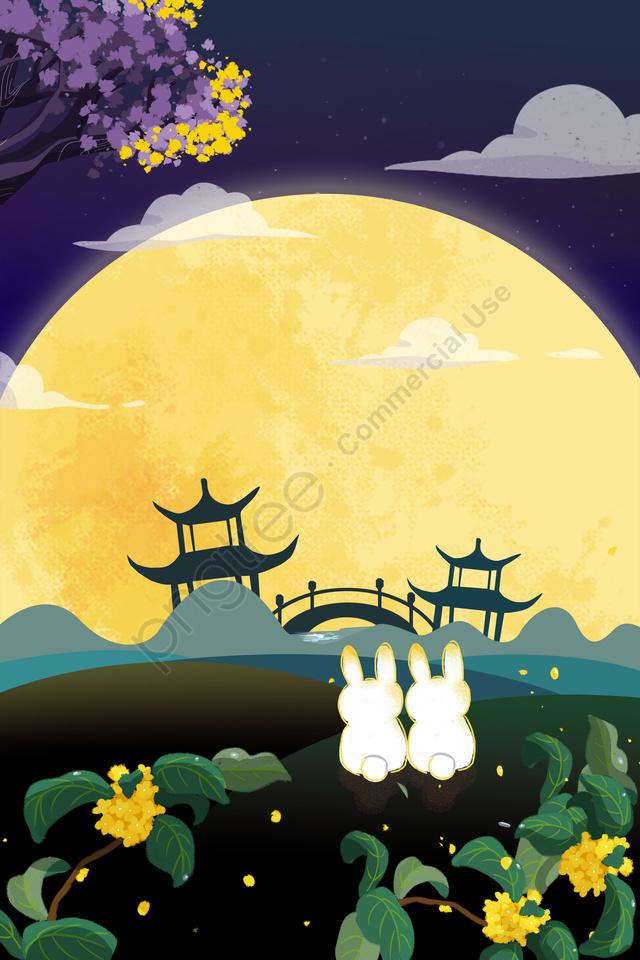 Pertengahan Musim Gugur Perayaan Bulan Arnab Kelinci, Terbang, Pandangan Malam, Ilustrasi llustration image