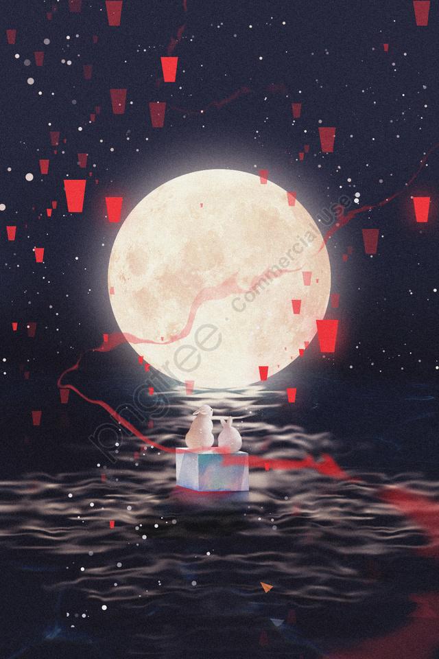 Pertengahan Musim Gugur Tangan Dicat Bulan Perayaan Musim Luruh, 15 Agustus, Kek Bulan, Bulan Arnab llustration image