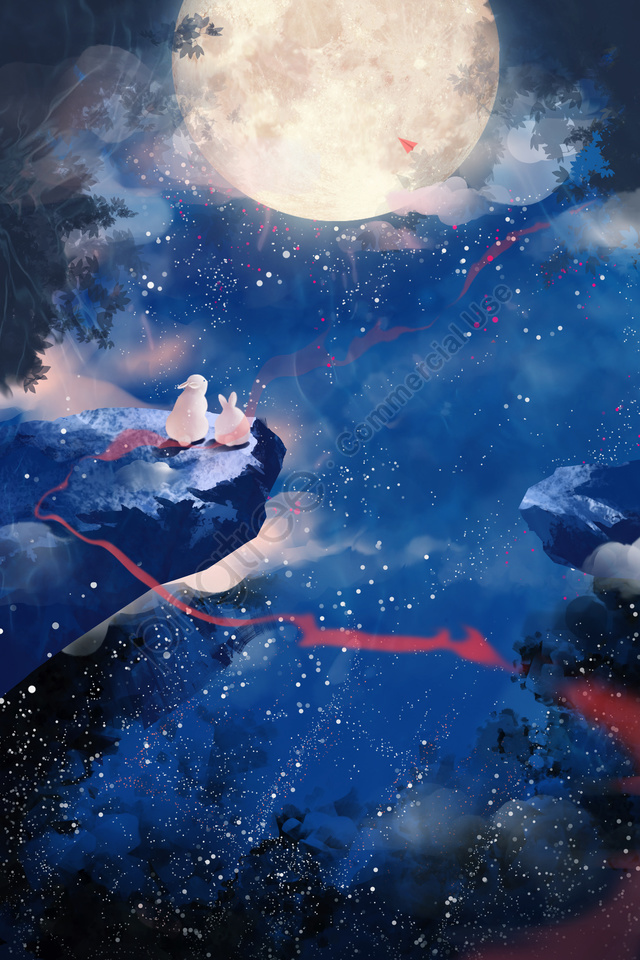 mid autumn hand painted starry sky moon, けいじ, 蓮の葉, 白い露 llustration image