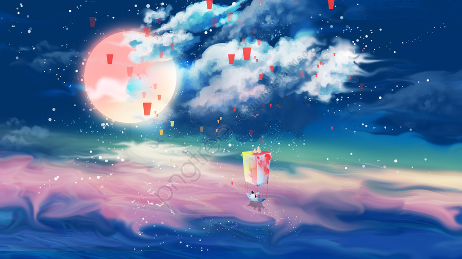 mid autumn hand painted starry sky moon, Moon Rabbit, Ribbon, Beautiful llustration image