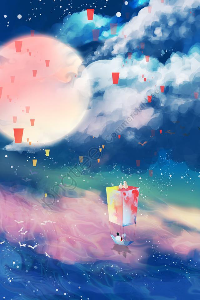 中秋の手描きの星空の月, ムーンラビット, リボン, 美しい llustration image