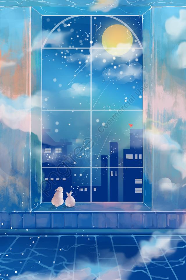 середина осени ручная роспись звездное небо луна, лунный заяц, лента, красивая llustration image