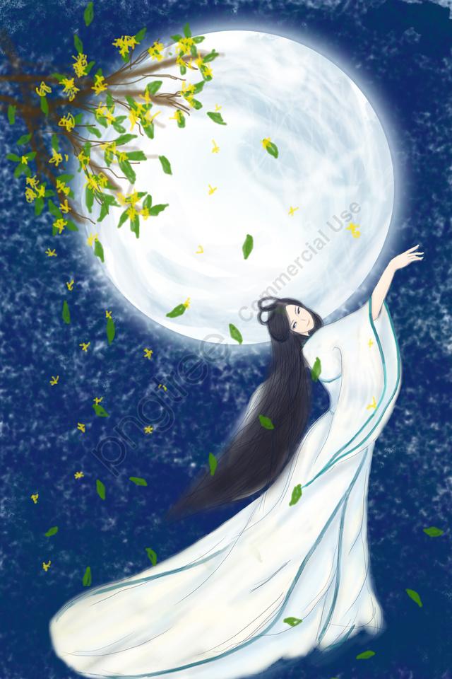 Meio Outono Ilustração Lua Mid Autumn Festival, 15 De Agosto, Guishu, 嫦娥 llustration image