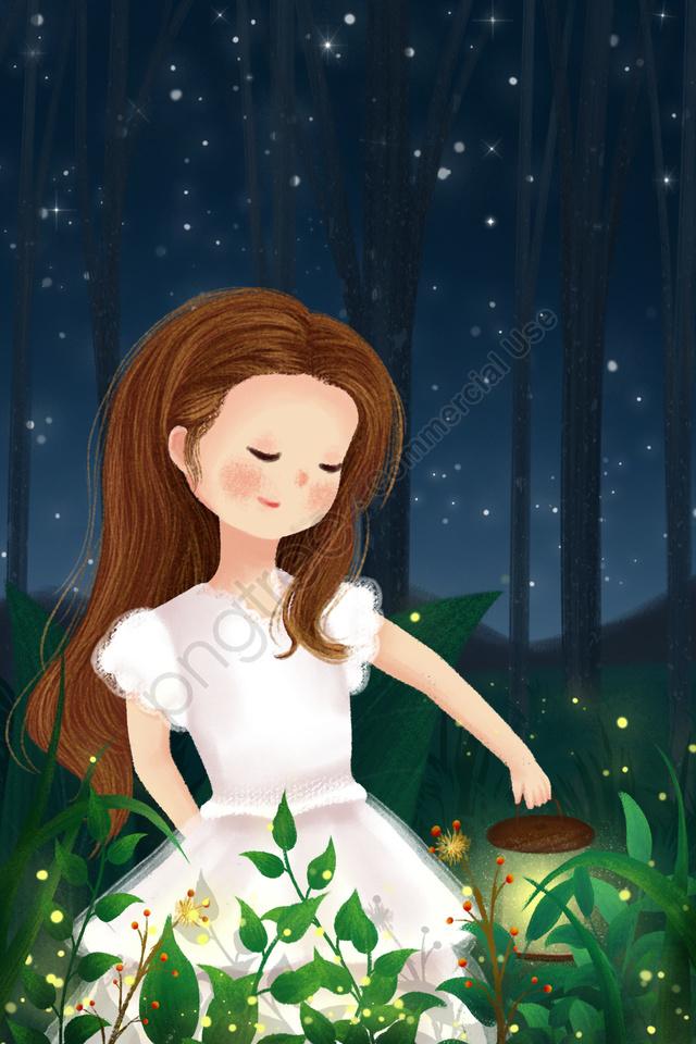 midsummer night fantasy forest girl hand drawn illustration, Night, Starry Sky, Grassland llustration image