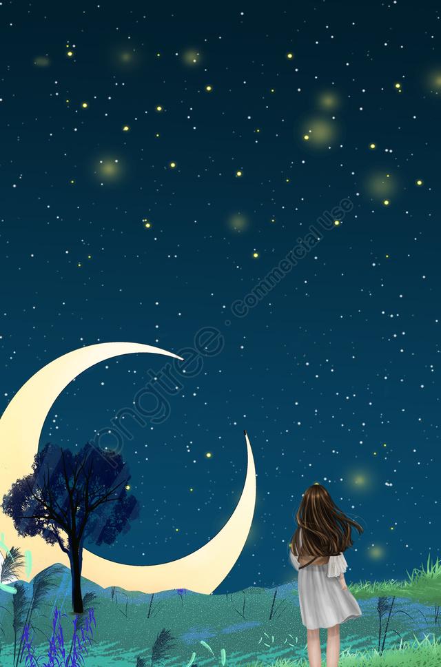真夏の夜新鮮な星空夜, 美しい, 広告, 美しい背景 llustration image