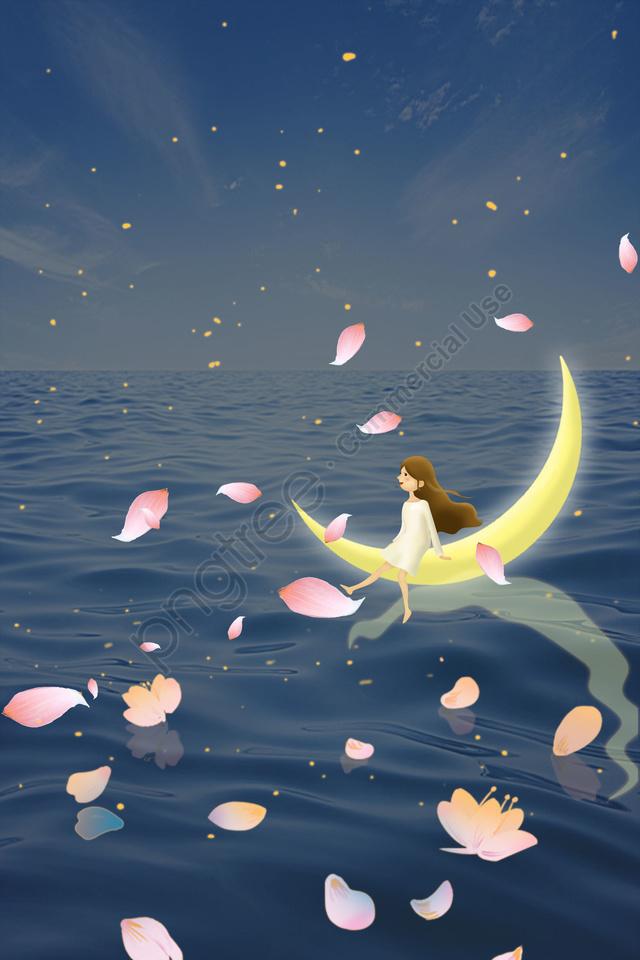 midsummer night moon good night night, Sea, Petal, Girl llustration image