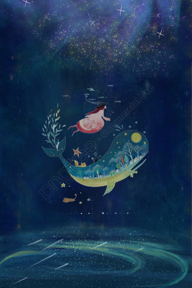 midsummer nights dream starry sky star sea, Girl, Whale, Dream llustration image
