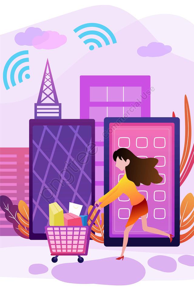 휴대 전화 인터넷 쇼핑 그림 쇼핑, 핸드폰, 인터넷 액세스, 쇼핑 llustration image