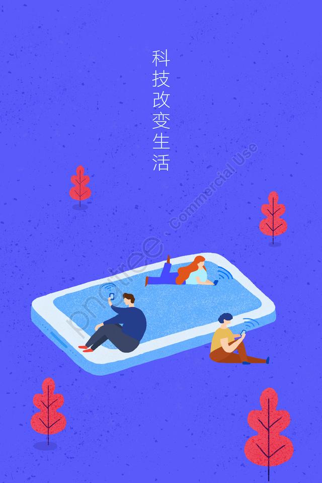 मोबाइल फोन सामाजिक कनेक्शन प्रौद्योगिकी, बुद्धिमान, जीवन, डिजिटल llustration image