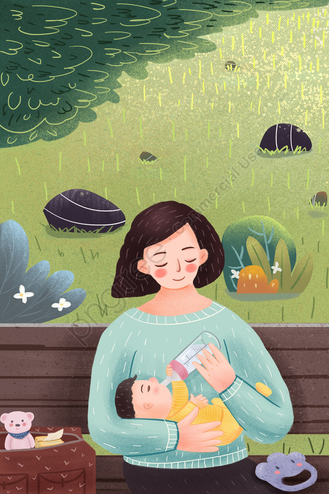 媽媽寶貝媽媽和寶寶草原, 母乳餵養, 奶粉, 寶貝 llustration image