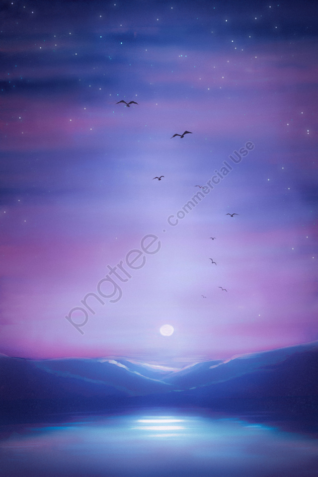 Landskap Langit Langit Bulan Berbintang, Bulanan, Langit, Langit Berbintang llustration image