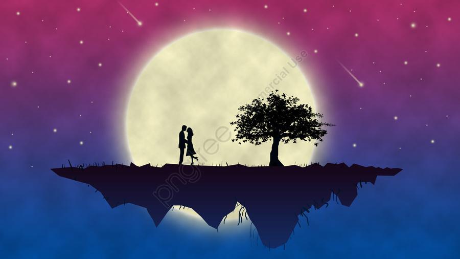 चाँद प्यार युगल रात आकाश, उल्का, पांच सौ बीस, बैंगनी llustration image