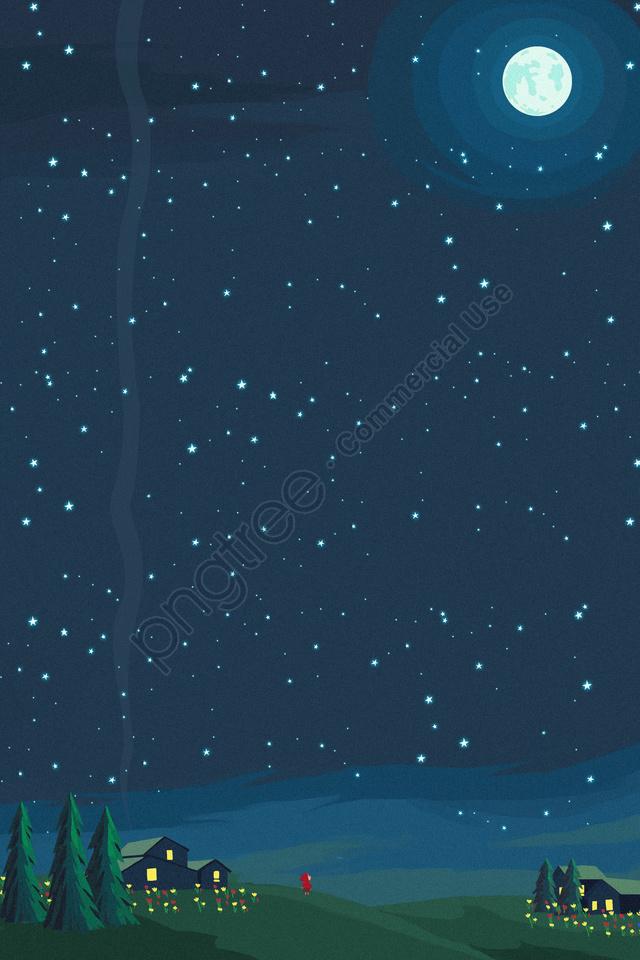 ムーンラウンドムーンブライトムーン夏, グラス, 松, 星空 llustration image