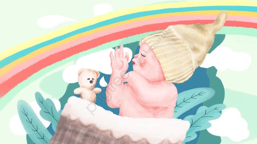 媽媽和寶寶寶寶睡覺去小寶寶, 夢境, 彩虹, 卡通 llustration image