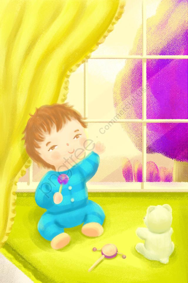 الأم والطفل الرضيع, طفل, غرفة, خارج النافذة llustration image