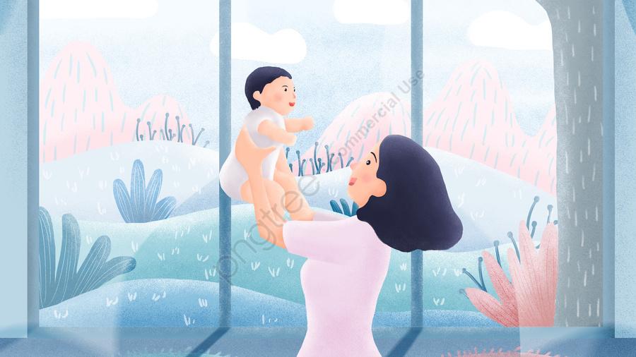 母親と赤ちゃんの感謝祭の母親の日の青, あたたかい, 母, ベイビー llustration image
