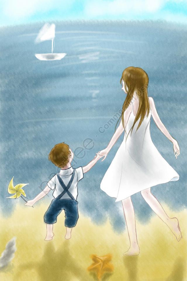 माँ और बच्चे आकाश नीला समुद्र तट, नीले आकाश, सफेद बादलों, माताओं दिन llustration image
