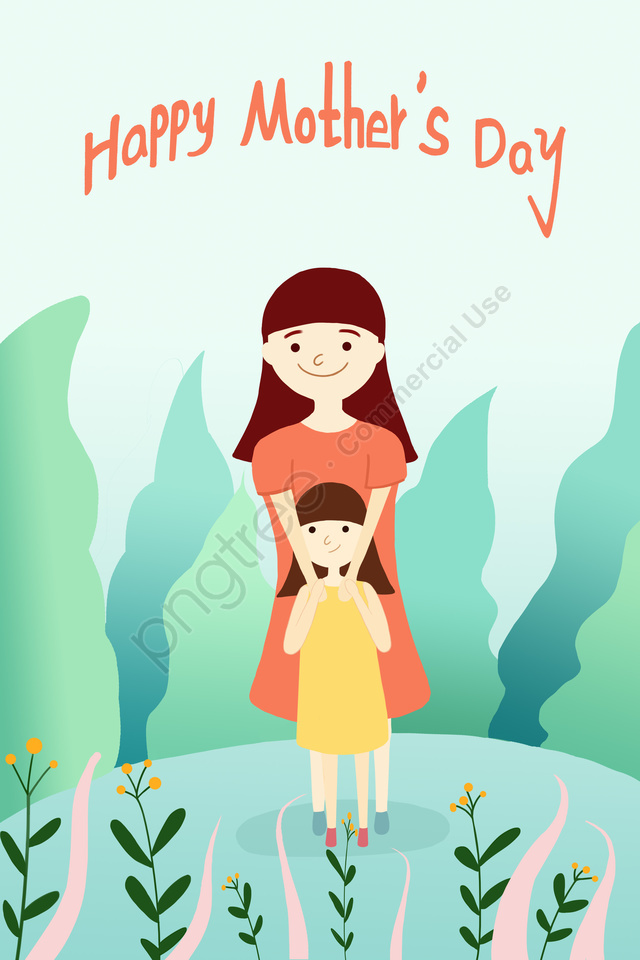 Mothers Day Fresh Beautiful Hand Drawn Illustration, Mother, Child, Little Girl llustration image