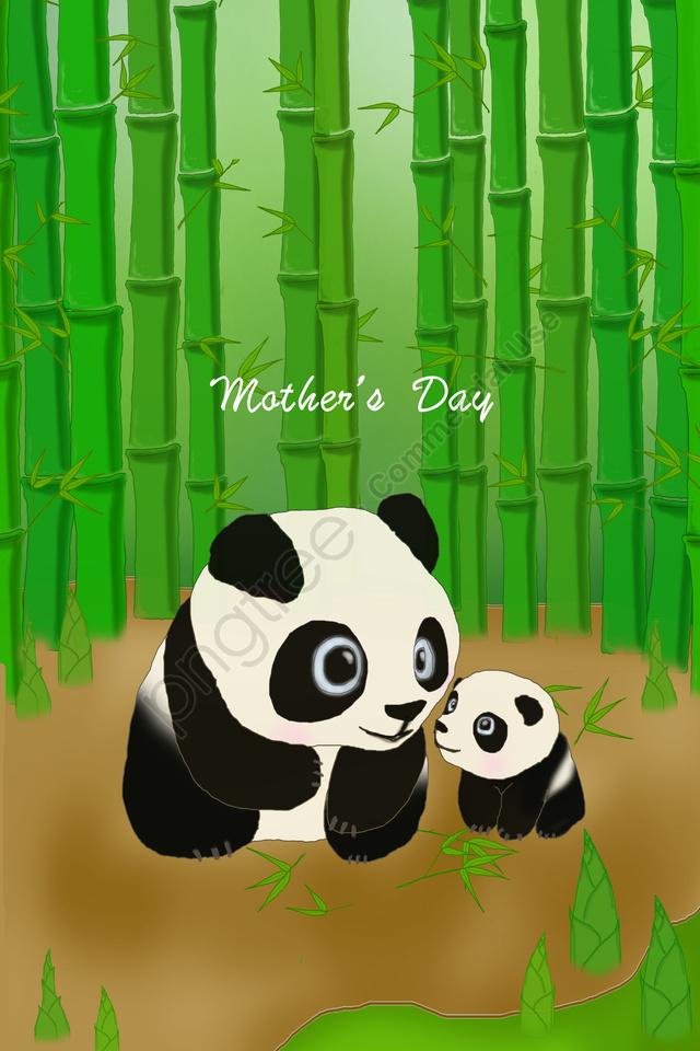 母親節例證熊貓竹子森林, 母親們, 白天, 媽媽 llustration image