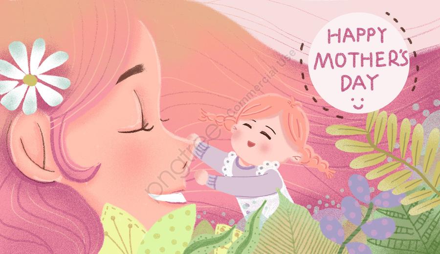 母の日暖かいピンクの植物, ママ, 抱擁する, 手塗り llustration image