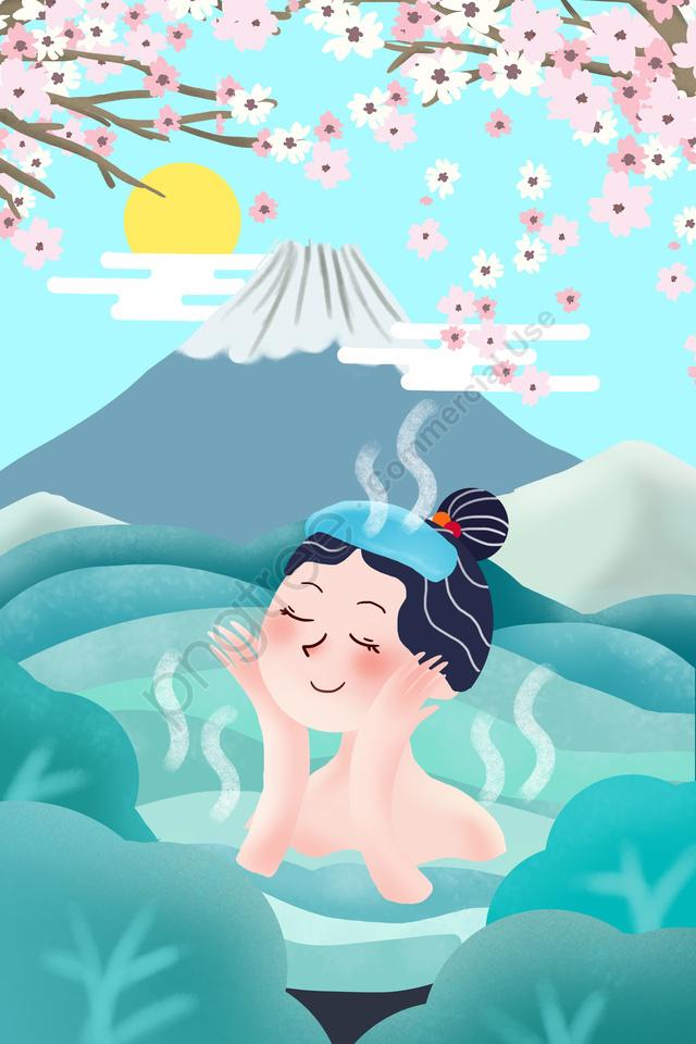 Mount Fuji Japan Spa Cherry Blossoms Illustration Image on Pngtree