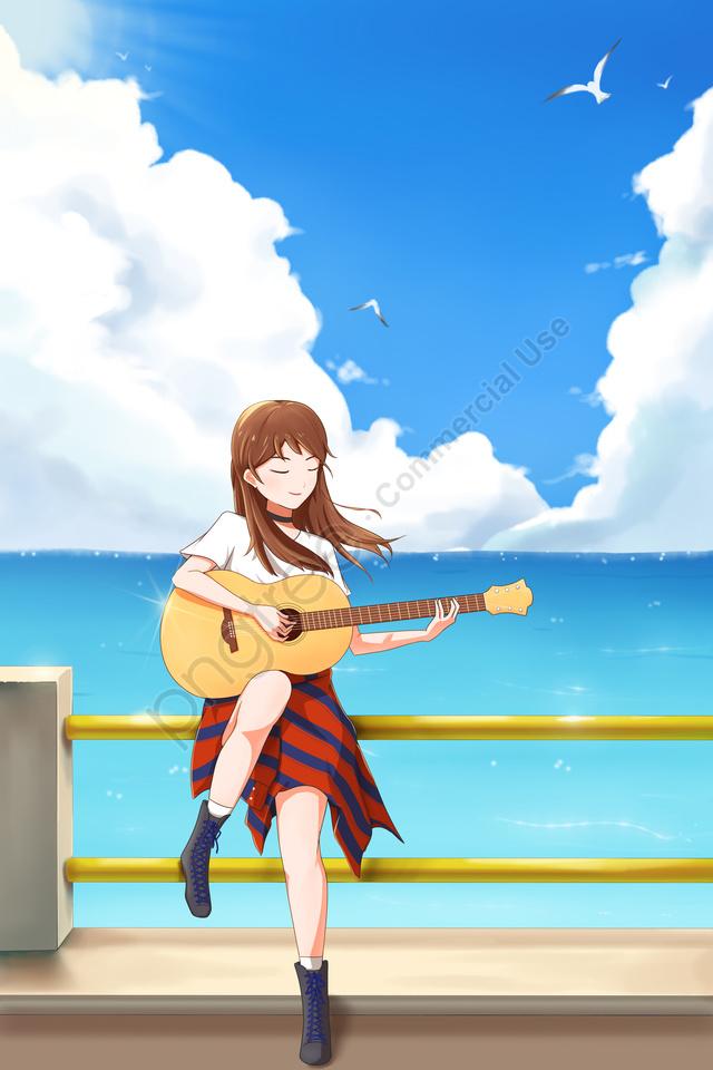 संगीत गिटार बजाना नीला आकाश पृष्ठभूमि, आकाश के सफेद बादल, सागर, नीले रंग की पृष्ठभूमि llustration image