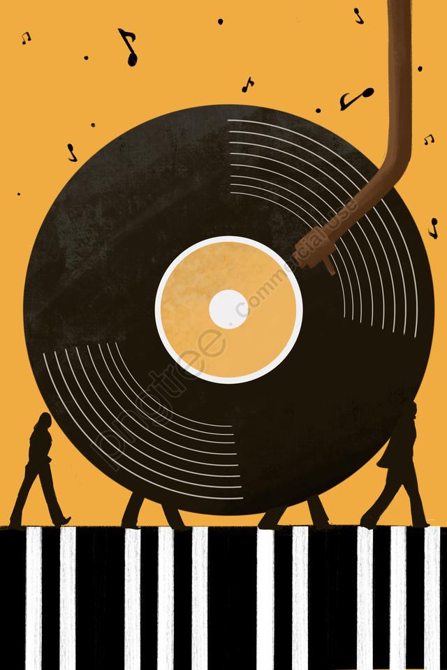 संगीत Vinyl पियानो प्रमुख चरित्र रिकॉर्ड करता है, चलना, संगीत खेलते हैं, संगीत नोट llustration image